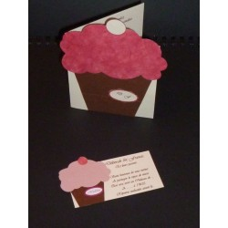 Faire-Part ou Menu Cupcake Chocolat et Fuchsia