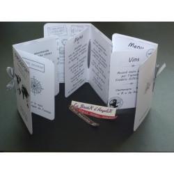 Faire-Part ou Menu Cupcake Chocolat et Fuchsia + carton réponse