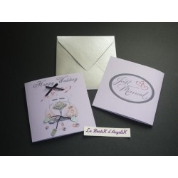 Carte Happy Wedding lilas
